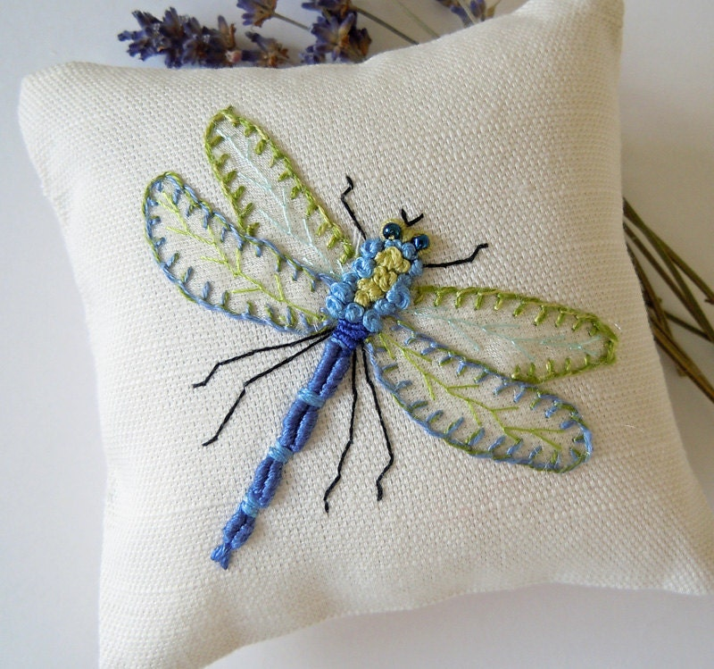 Hand Embroidered Dragonfly Lavender Scented Drawer Sachet
