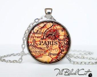 Vintage map of Paris  pendant Old map of Paris necklace Antique map of Paris jewelry (PVM00007)