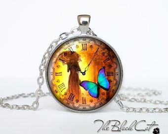 Steampunk clock pendant Steampunk watch necklace Steampunk clock jewelry