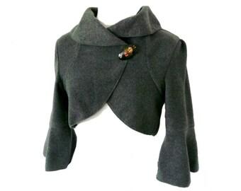 Women Bolero Fleece Cardigan short Jacket size XS-L  anthrazit