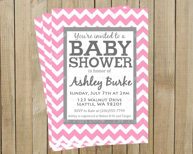 Trendy Pink Chevron with Gray Baby Shower Invitation Custom