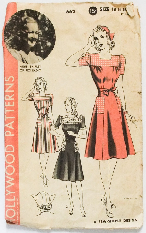 40's Hollywood 662 - Anne Shirley RKO-Radio Hat and Dress Gored Dress with Yoke Gathers - Size 18 - Bust 36