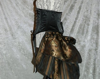 THE ORIGINAL - Blackened Copper Long Steampunk Bustle Ruffle in Luxe Brocades