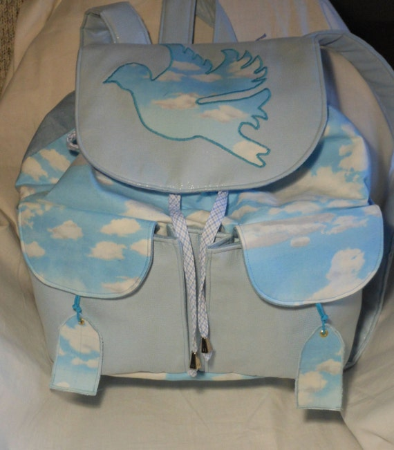 Backpack with Applique Bird and Adjustable Straps a Handmade Blue Heavenly Womens Rucksack.