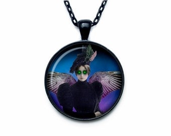 Gothic Angel pendant steampunk necklace halloween scary  jewelry (PGS00005)