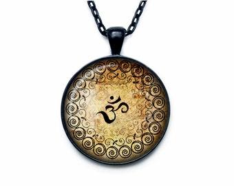 Om Necklace Om Pendant  Yoga Jewelry  Om Charm