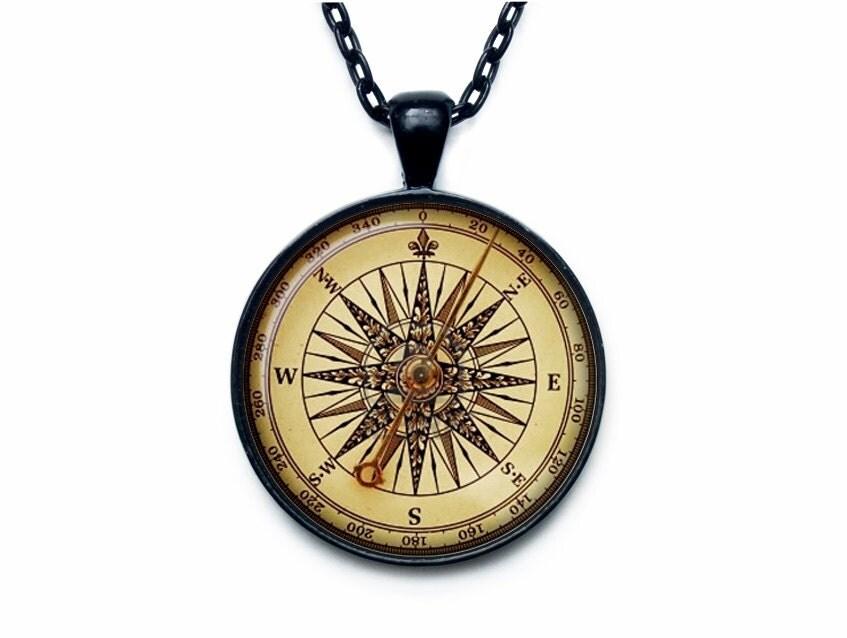 Vintage compass pendant ART PRINT Steampunk compass necklace