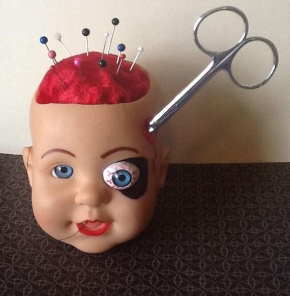 Creepy Doll Head Pin Cushion