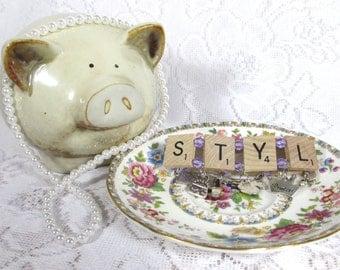 Scrabble Bracelet Stylish with Purple Beads