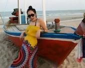 Yellow Mayan Maxi Dress, Strapless Dress, Boho Dress