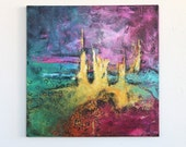 abstract painting purple original painting yellow green City of Gold