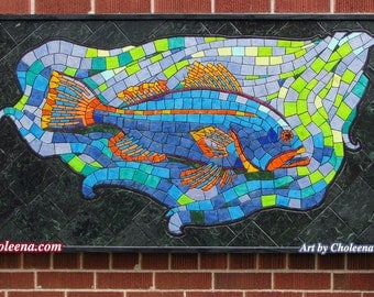 Mosaic fish tiles etsy for Mosaic art pictures