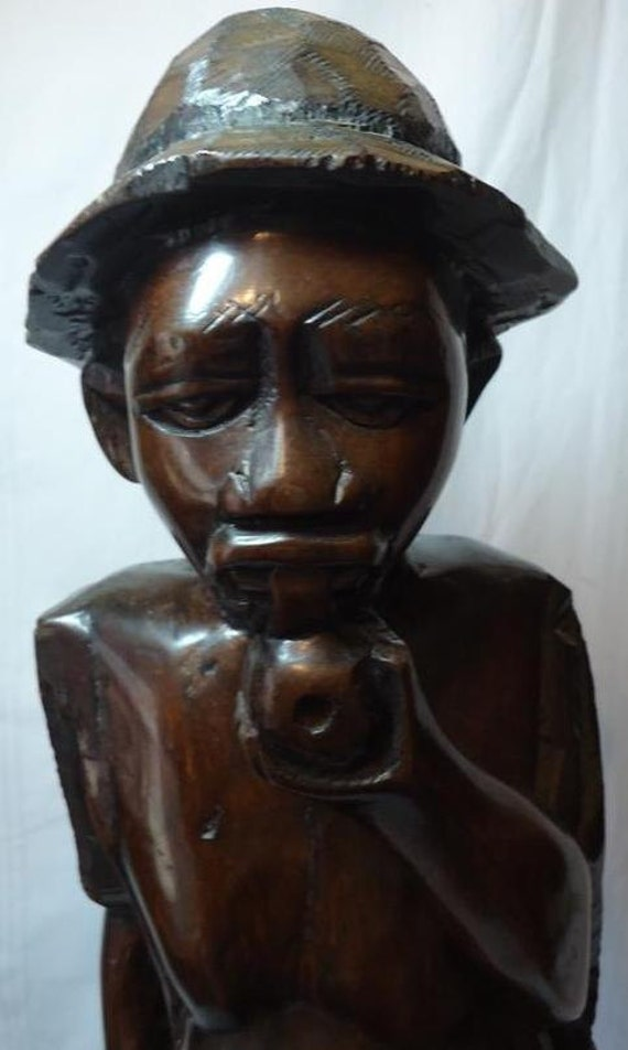 Black African Ebony Wood Carving Statue HEAVY Nearly 3 ft high. Fisherman Smoker