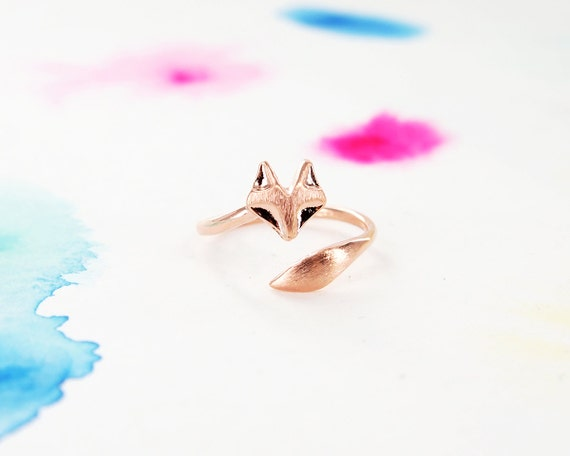 Adjustable Wrapping Pink Rose Gold Fox Ring
