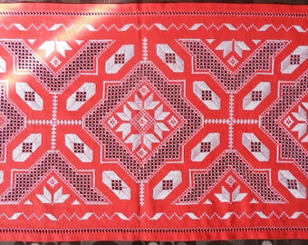 Traditional Transylvanian linen hand embroidery red  white table runner READY TO SHIP