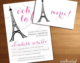Paris Bridal Shower Invitation -  French, Eiffel Tower, Ooh La La, Paris Themed Invitation Design - Printable or Printed Invitations