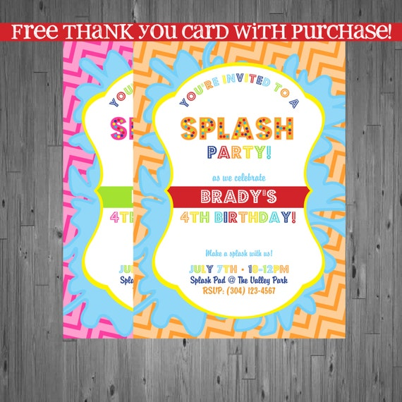 Splash Party Birthday Invitation First Birthday By