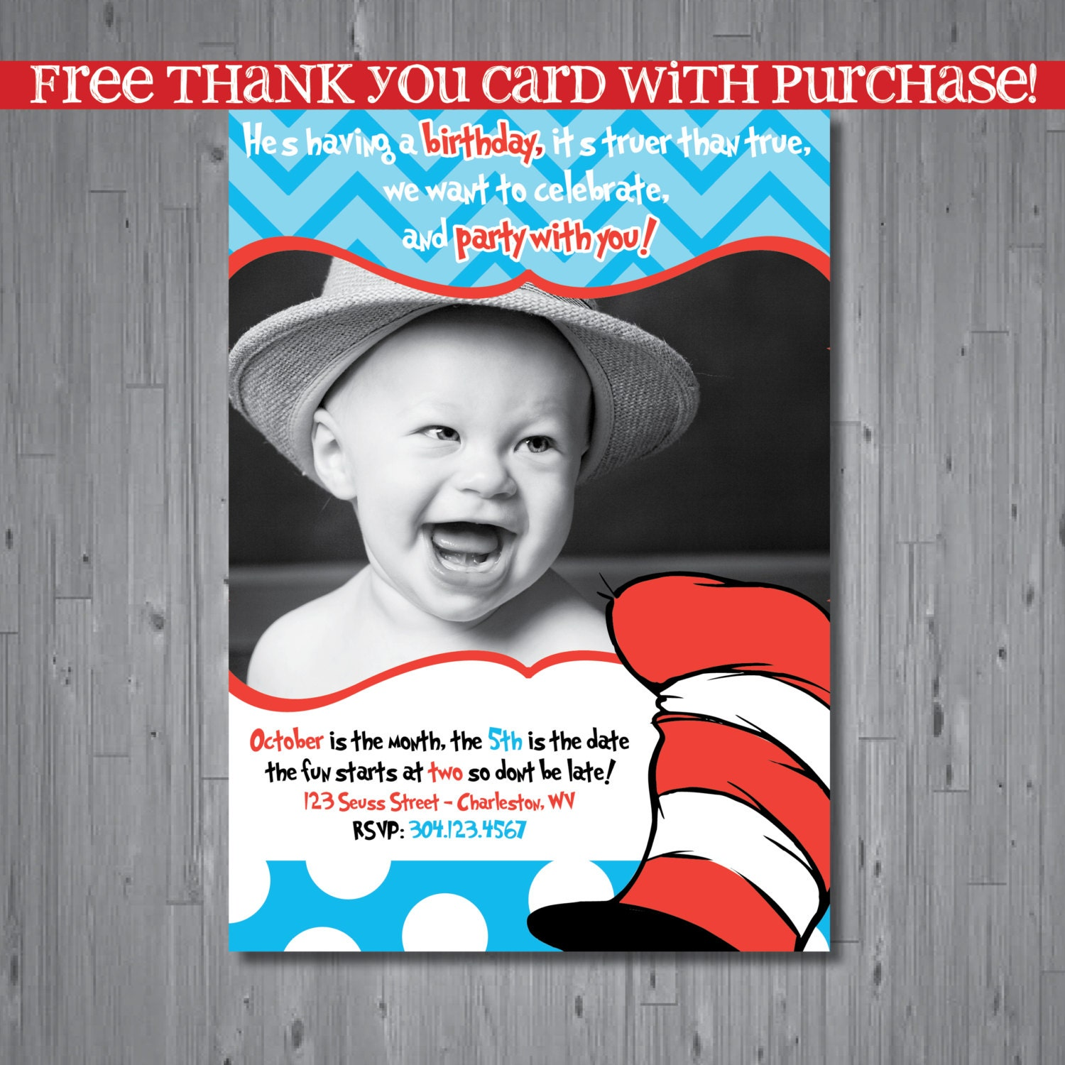 Dr Seuss 1St Birthday Invitations and get inspiration to create nice invitation ideas