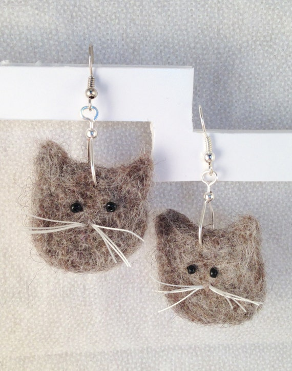 Sweet Cat Face Felted  Earrings
