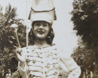 Vintage 1940's Cute High School Majorette Ready For Parade Snapshot Photo - Free Shipping