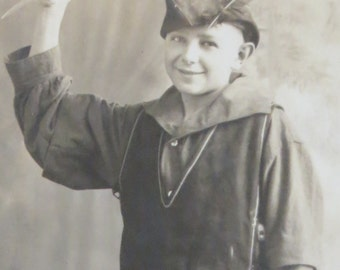 Vintage 1910's Young Actor Ready For Role As Robin Hood RPPC Real Photo Postcard - Free Shipping