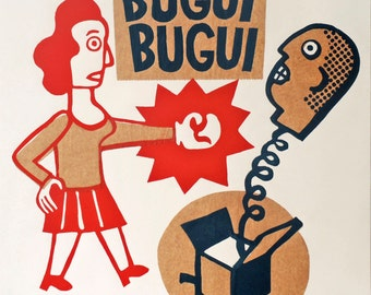 bugui bugui  / hand printed woodcut and collage / limited edition