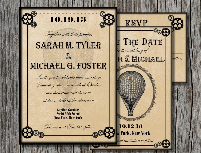 Wedding Invitation Rsvp Date: Steampunk Wedding Invitation Bundle Save The Date By