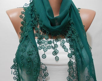 Cotton Scarf Emerald Scarf with Laced Green Wedding Scarf Spring Scarf Women Fashion Accessories St Patricks Day Gift For Her For Women Mom