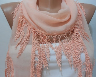 Soft Cotton Scarf Wedding Scarf Peach Scarf Shawl Cowl Scarf with Laced Bridesmaids Gift Ideas For Her Women Summer Fashion Accessories