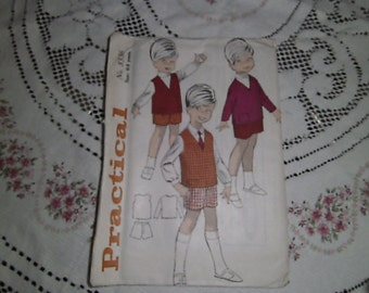 Vintage sewing pattern for boys jerkin and shorts for ages 6 to 8