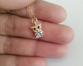 Owl necklace,gold owl necklace,owl charm necklace,charm pendant necklace,small cute pendant,owl pendant, Christmas gift