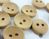 2-Holes Concave Wood Buttons, Natural Wood Color, Round, 12 X 12 X 3 mm (Set of 100) - 10000032-100