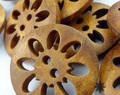 0.2 USD Only - 2-Holes Special Design Carved Wood Buttons, Brown, Round, 23 X 23 X 4 mm (Set of 10) - 10000137-010