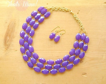 Purple statement necklace, Multi strand purple statement necklace and earring set