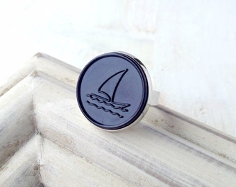 Ahoy - sailing ship - maritime vintage button - ring