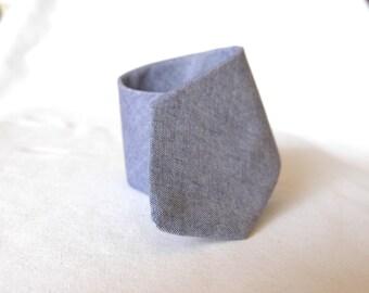 Men's Necktie - Cotton Chambray Blue- SKINNY or SLIM