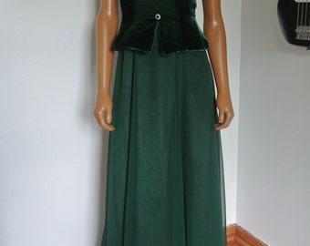 Vintage 1980s Bill Levkoff Emerald Green Formal Gown Maxi Long Dress Small