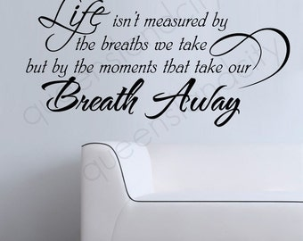 Breath Away Life Inspirational Wall Quote Vinyl Art Decal Sticker Home Decor