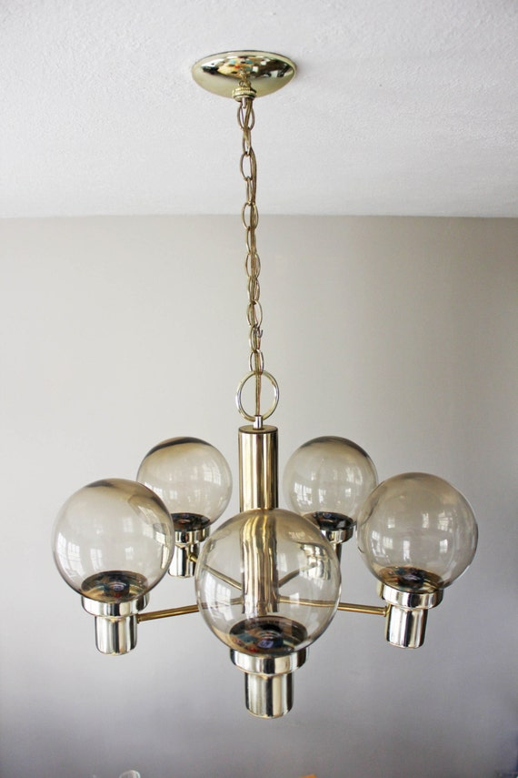 mid century atomic brass glass globe chandelier ceiling by intona. Black Bedroom Furniture Sets. Home Design Ideas