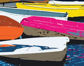 A vivid, fun print of small boats moored together