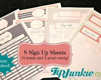 Up Sheets - Potluck - Snack - Church - Sports - School - Email Sign Up ...