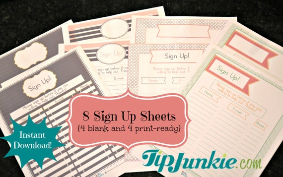 8 Sign Up Sheets Potluck Snack Church Sports by TipJunkie – E Mail Sign Up Sheet