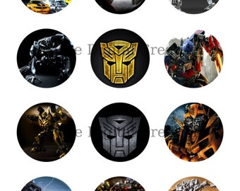 """Transformers Birthday Party Cupcake Toppers, Printable Stickers, Party Tags, 2"""" Circles, Instant Download"""