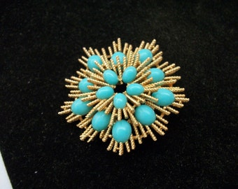 Mothers Love Jewelry - Vintage Avon Faux Turquoise and Gold Tone Spiked Brooch - Signed  Great Birthday, Anniverary, Mother's Day Gift