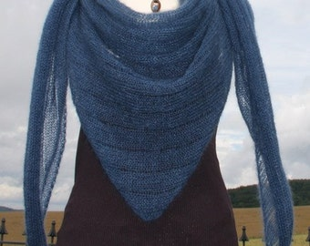XL Triangle shawl, knit  shawl, knit wrap, beach shawl, mohair / silk, stripe pattern, jeansblue,blue