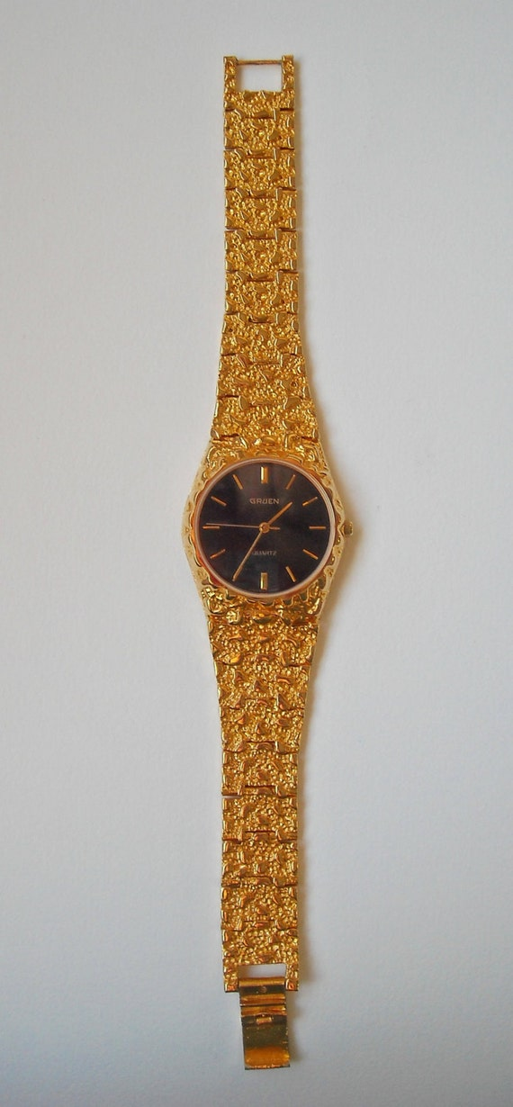 Gruen Yellow Gold Plated Quartz Watch With Jet Black Face