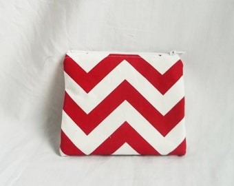 Red Makeup bag - Personalized Chevron Pouch - Choose Your Colors & Print - Cosmetic Bag - Zip Wallet - Small