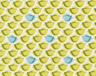 Bird Fabric - Heaven & Helsinki Puffy Bird by Patty Young for Michael Miller Fabrics DC5595 Green - 1/2 yard