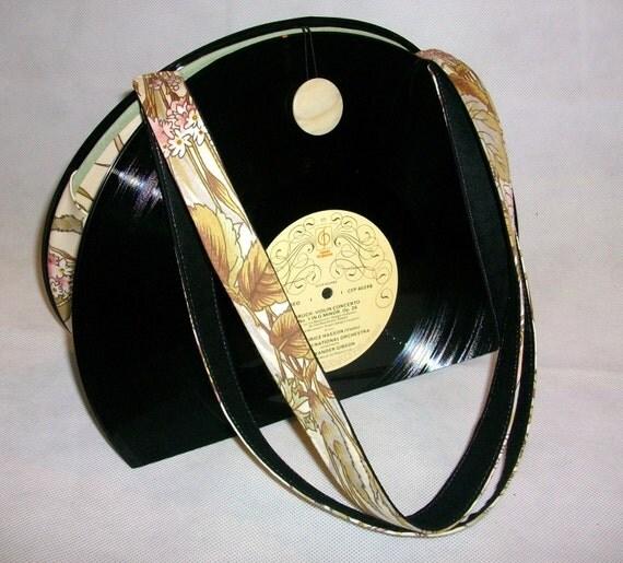 sale price 12 vinyl record bag handbag aged floral. Black Bedroom Furniture Sets. Home Design Ideas