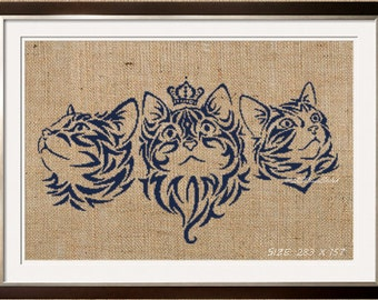 Counted Cross Stitch Pattern PDF tribal kittehs by roxo89